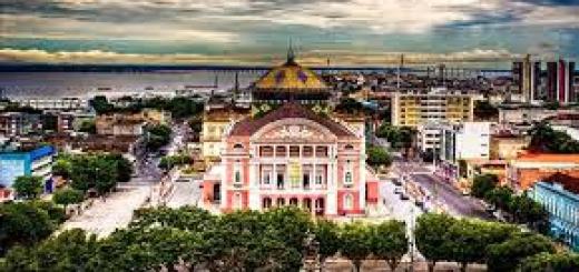 Vista do Teatro Amazonas, em Manaus